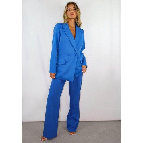 Pantalon droit bleu nervuré, Bleu - Missguided - Modalova