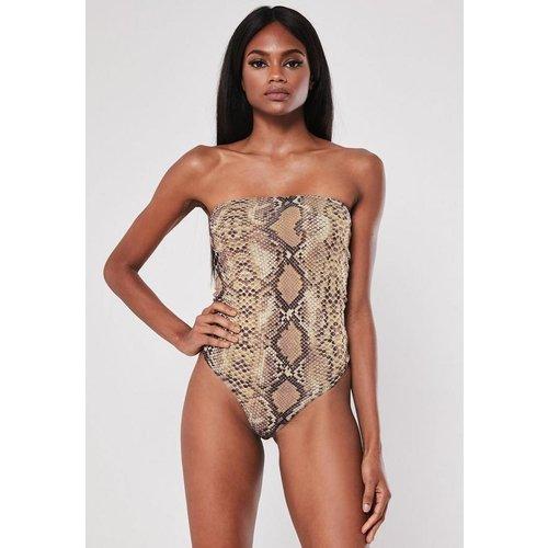 Nude Snake Print Bandeau Bodysuit, Nude