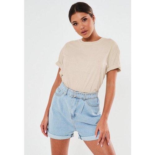T-shirt gris fumé délavé basique - Missguided - Modalova