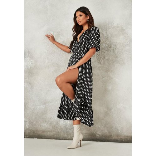 Robe mi-longue à pois portefeuille tall - Missguided - Modalova