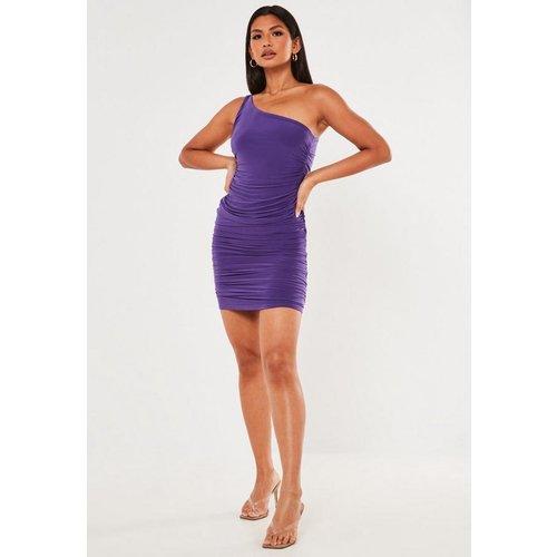 Robe courte violette près du corps froncée asymétrique petite - Missguided - Modalova
