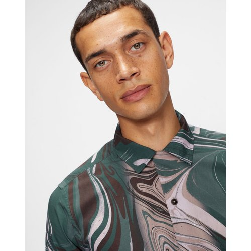 Ls Marble Print Revere Shirt - Ted Baker - Modalova