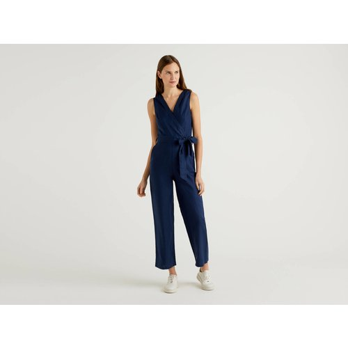 Benetton, Combi-pantalon En Pur Lin, taille 38, Bleu Foncé - United Colors of Benetton - Modalova