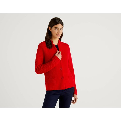 Benetton, Veste En Maille 100% Coton, taille XL, Rouge - United Colors of Benetton - Modalova