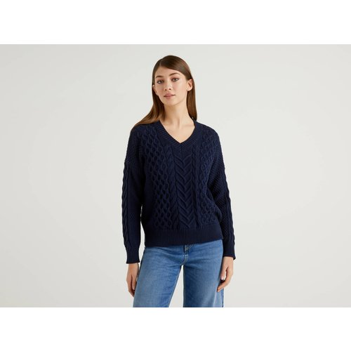 Benetton Online exclusive, Pull En Maille En Pur Coton, taille XS, Bleu Foncé - United Colors of Benetton - Modalova