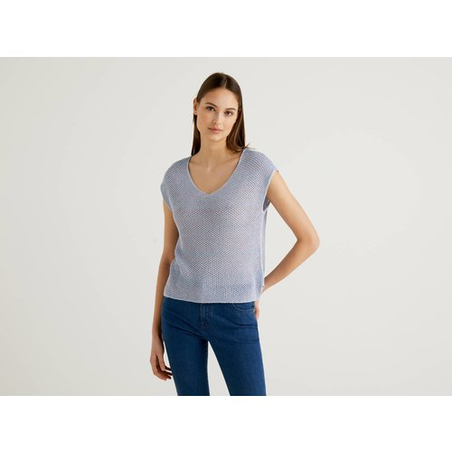 Benetton, Pull En Maille Filet En 100% Coton, taille M, Bleu Clair - United Colors of Benetton - Modalova