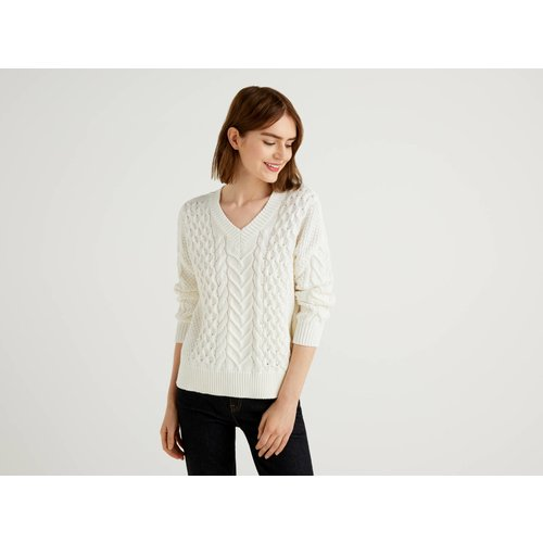 Benetton Online exclusive, Pull En Maille En Pur Coton, taille XL, Crème - United Colors of Benetton - Modalova
