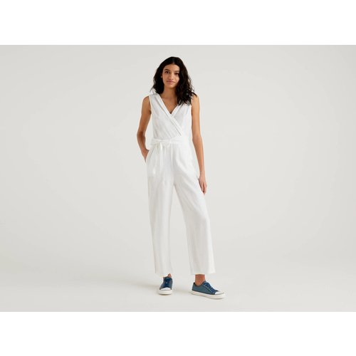 Benetton, Combi-pantalon En Pur Lin, taille 38, Blanc - United Colors of Benetton - Modalova