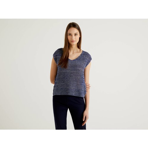 Benetton, Pull En Maille Filet En 100% Coton, taille M, Bleu - United Colors of Benetton - Modalova
