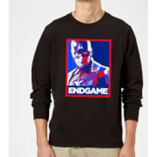 Marvel Avengers Endgame Captain America Poster Sweatshirt - Black - S - Black