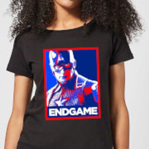 Marvel Avengers Endgame Captain America Poster Women's T-Shirt - Black - M - Black