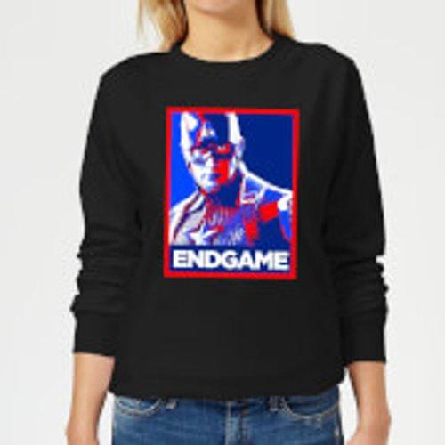 Marvel Avengers Endgame Captain America Poster Women's Sweatshirt - Black - M - Black