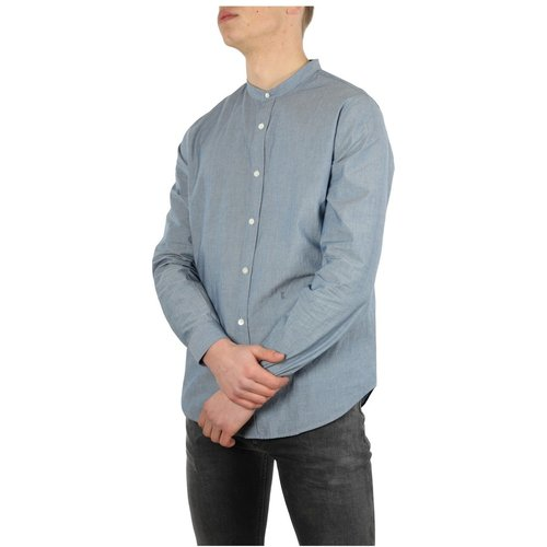 Collarless Shirt Mid Blue - closed - Modalova
