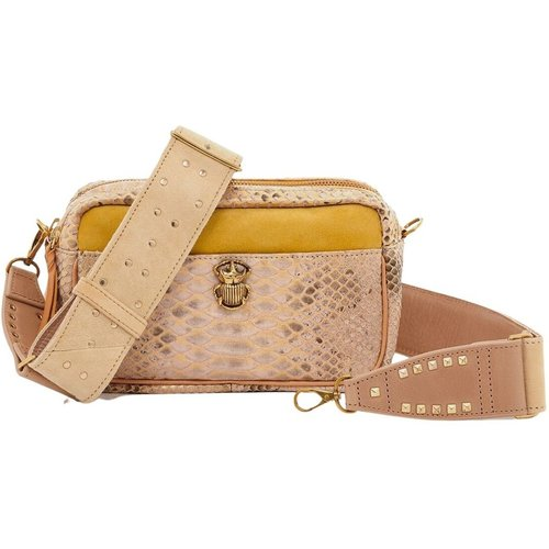 Lily python and suede leather bag - Claris Virot - Modalova