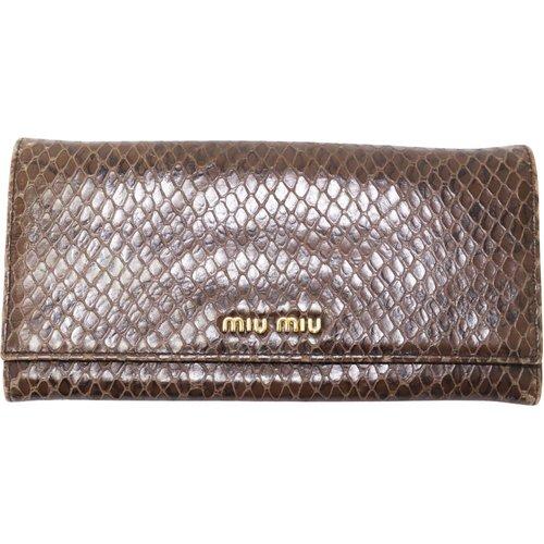 Portefeuille à deux volets en python continental - Miu Miu Vintage - Modalova