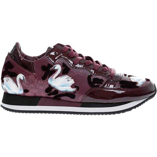 Tropez Bright - Sneakers en veau imprimé fleurs et cygnes , , Taille: 39 - Philippe Model - Modalova