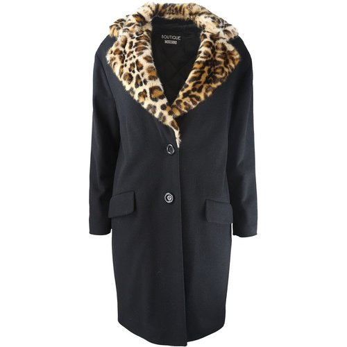 Leopard Trim Coat , , Taille: 40 IT - Boutique Moschino - Modalova