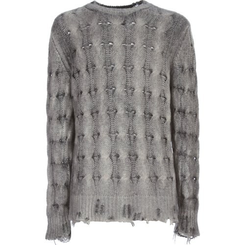 Round Neck Braided Pullover With Destroyed , , Taille: 2XL - Avant Toi - Modalova
