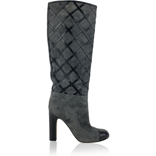 Suede Quilted Knee High Boots - Chanel Vintage - Modalova