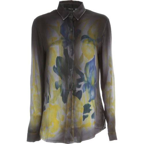Fitted Shirt With Hand Painted Iris Flowers , , Taille: XL - Avant Toi - Modalova
