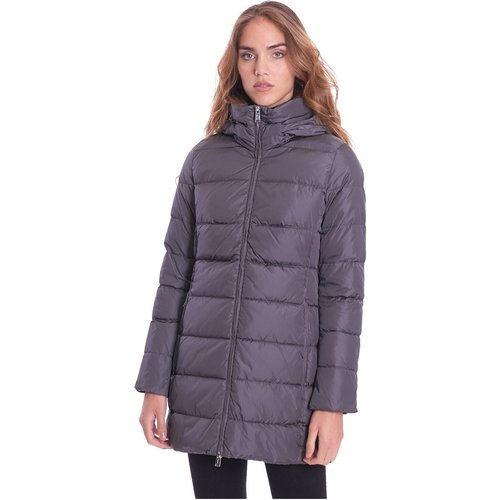 Long Quilted Down Jacket With Detachable Hood - add - Modalova