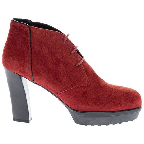 Derby boots à talon en croûte de cuir - TOD'S - Modalova