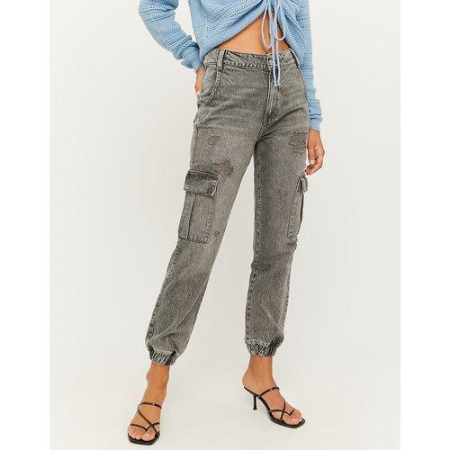 Jean Cargo Taille Haute Gris - Tw - Modalova