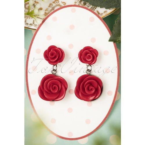 Romantic Red Roses Earrings Années 40 - sweet cherry - Modalova
