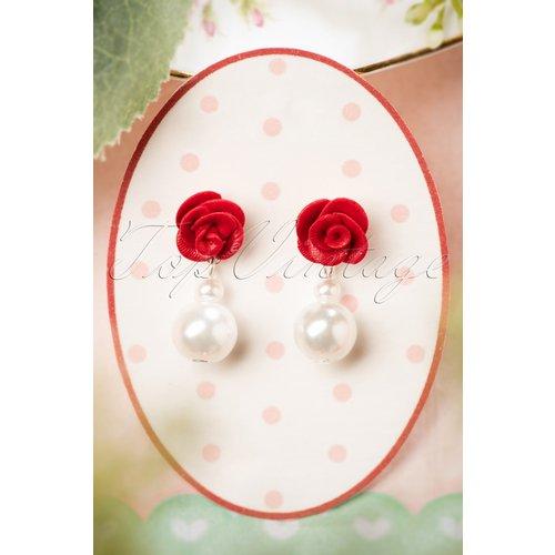 Rose and Pearl Earrings Années 50 en Ivoire - sweet cherry - Modalova