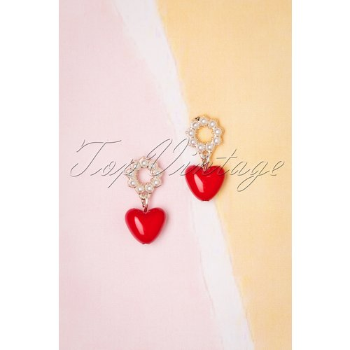 Heart and Pearl Earrings Années 50 en - sweet cherry - Modalova