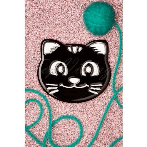 Cat Face Brooch Années 60 en Noir - darling divine - Modalova