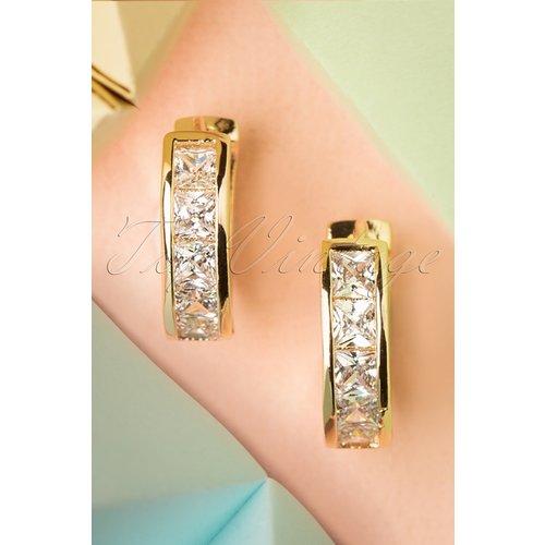 Crystal Earrings Années 50 en Doré - glamfemme - Modalova