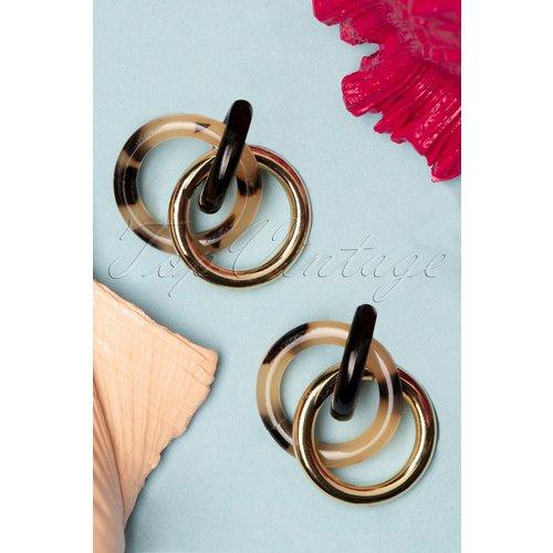 Tortoise Circle Earrings Années 60 en Doré - darling divine - Modalova