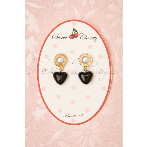 Pearl Heart Earrings Années 50 en et Doré - sweet cherry - Modalova