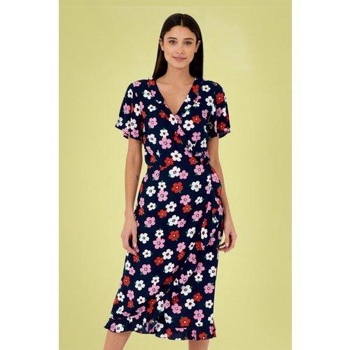 Jenny Pretty Floral Dress Années 70 en Marine - Pretty Vacant - Modalova