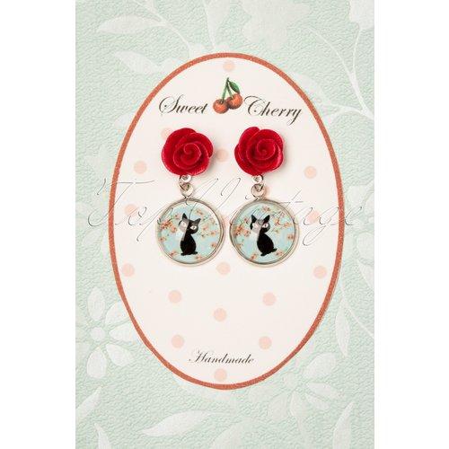 Lucky Black Cat Rose Earrings Années 50 en et Rose - sweet cherry - Modalova