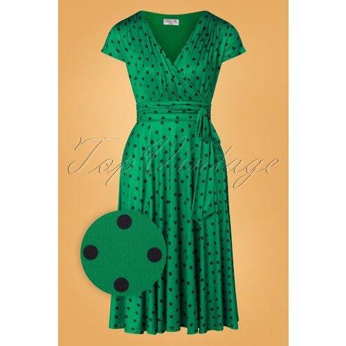 Caryl Polkadot Swing Dress Années 50 en Émeraude - vintage chic for topvintage - Modalova