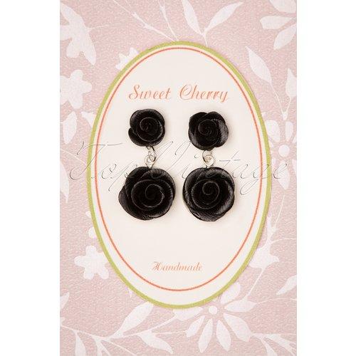 Romantic Black Roses Earrings Années 40 - sweet cherry - Modalova