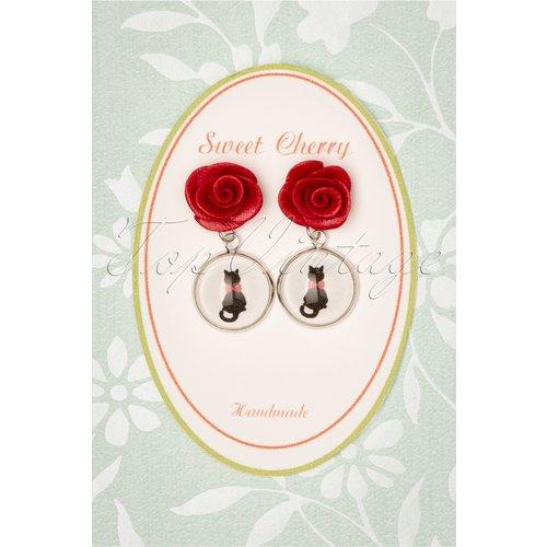 Kitty Cat Rose Earrings Années 50 en - sweet cherry - Modalova