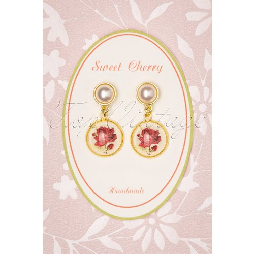 Pearl Roses Earrings Années 50 en Doré - sweet cherry - Modalova