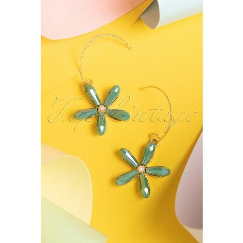 Macy Flower Pearl Earrings Années 50 en Doré et - glamfemme - Modalova