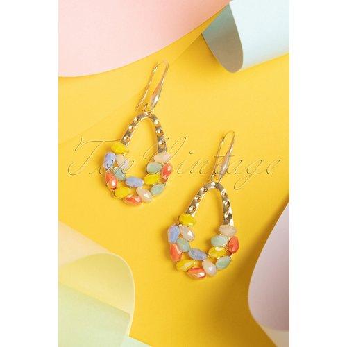Disco Beads Drop Earrings Années 60 en Doré - glamfemme - Modalova