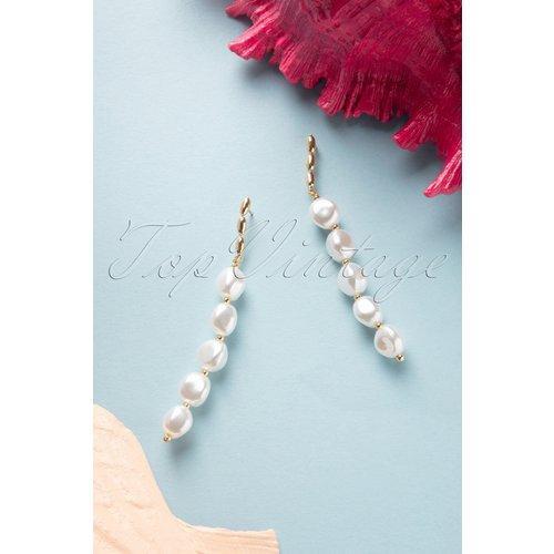 String Of Pearls Earrings Années 50 en Doré - glamfemme - Modalova