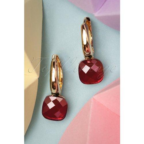Eleanor Earrings Années 50 en Rubis et Doré - glamfemme - Modalova