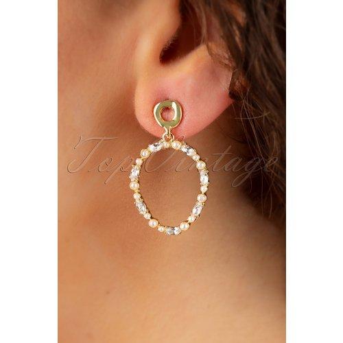 Diamonds and Pearls Earrings Années 50 en Doré - glamfemme - Modalova