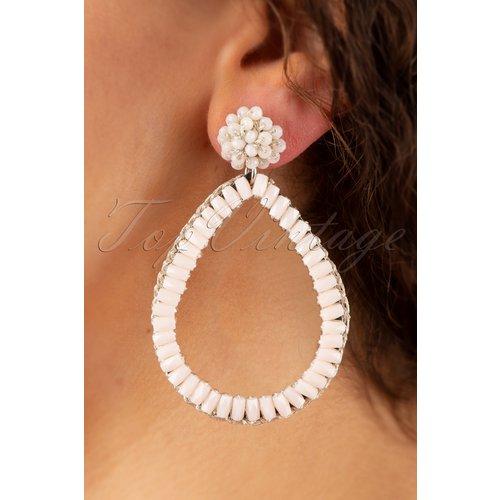 Big Drop Shaped Earrings Années 50 en Ivoire - glamfemme - Modalova