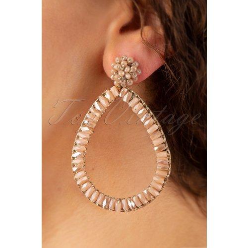 Big Drop Shaped Earrings Années 50 en Nude - glamfemme - Modalova