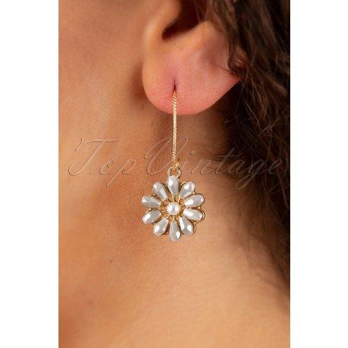 Mauve Flower Pearl Earrings Années 50 en Doré - glamfemme - Modalova