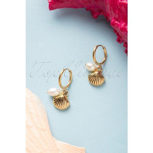 Shell and Pearl Earrings Années 50 en Doré - glamfemme - Modalova