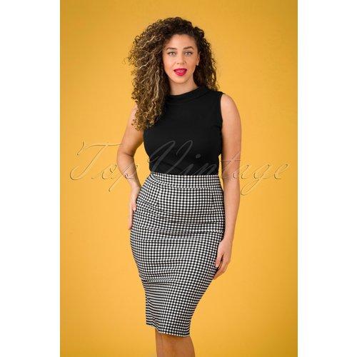 Luana Gingham Pencil Skirt Années 50 en et Blanc - vintage chic for topvintage - Modalova